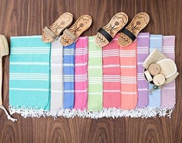 Färgglada hamam handdukar